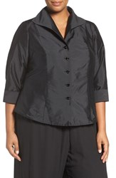 Adrianna Papell Plus Size Women's French Cuff Taffeta Blouse
