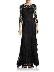 Theia Floral Lace Gown Black