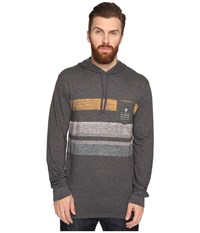 Vissla Kooktown Hoodie Reverse Printed Long Sleeve Knit Black Heather Men's Sweatshirt