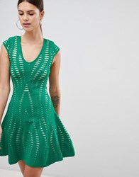 Forever Unique Textured A Line Dress Green