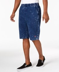 Lrg Johannesburg Big And Tall Classic Fit Marled Over Dyed Drawstring Shorts Deep Navy