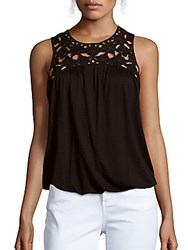 Max Studio Lace Embroidered Sleeveless Solid Top Black