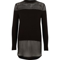 River Island Womens Black Lace And Mesh Layered Top