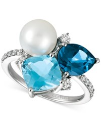 Le Vian London Blue Topaz 1 3 4 Ct. T.W. Blue Topaz 2 1 3 Ct. T.W. Cultured Freshwater Pearl 9Mm And Diamond 1 4 Ct. T.W. Ring In 14K White Gold
