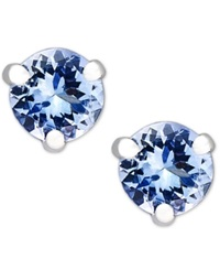 Macy's 14K White Gold Round Tanzanite Stud Earrings 3 4 Ct. T.W.