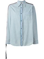 N 21 No21 Embellished Denim Shirt Blue