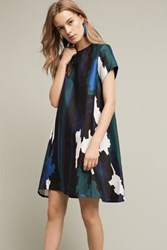 Anthropologie Abstract Printed Swing Dress Blue Motif