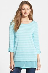 Women's Caslon Layer Look Stripe Roll Sleeve Tunic Teal Teal Stripe
