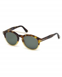 Tom Ford Newman Round Shiny Acetate Sunglasses Classic Havana