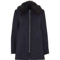 River Island Womens Navy Blue Faux Fur Collar Swing Coat