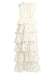 Zimmermann Winsome Tier Vine Embroidered Silk Organza Gown White
