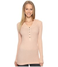 Hard Tail Long Sleeve Hooded Scoop Henley Shell Women's Clothing Beige