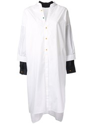 Enfold Layered Midi Shirt Dress White