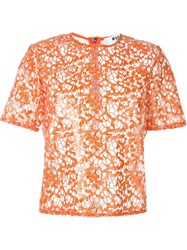 Msgm Sequinned Lace Boxy Top Yellow And Orange