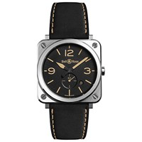 Bell And Ross Brs Heri St Sca Unisex Brs Heritage Date Leather Strap Watch Black