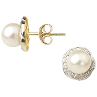 A B Davis 9Ct Gold Cultured Pearl Diamond Stud Earrings