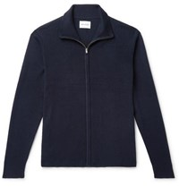 Norse Projects Fjord Slim Fit Merino Wool And Cotton Blend Zip Up Cardigan Navy