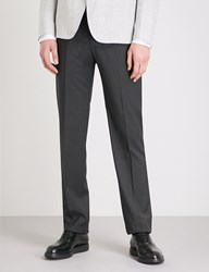 Emporio Armani G20 Tailored Fit Straight Wool Trouses Grey