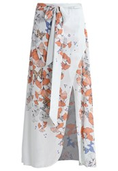 Free People Bri Bri Butterfly Maxi Skirt Blue Combo White