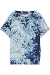 Current Elliott The Rolled Sleeve Tie Dyed Cotton Terry Sweatshirt Indigo