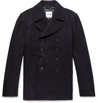 Aspesi Double Breasted Boiled Wool Peacoat Midnight Blue