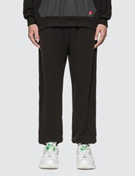 Undercover Nylon Panelled Embroidered Rose Print Pants Black
