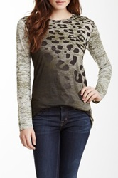 Go Couture Long Sleeve Burnout Tee Multi