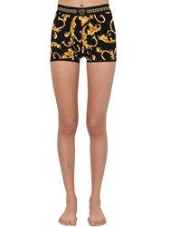 Versace Printed Stretch Jersey Shorts Multicolor