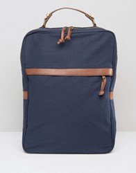 Asos Smart Backpack In Navy Canvas Navy