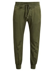 Haider Ackermann Saglia Cotton Blend Twill Track Pants Khaki
