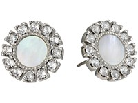 Tory Burch Deco Flower Studs Earrings Mother Of Pearl Silver