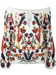 Alice Olivia Floral Embroidery Off Shoulder Blouse White