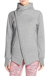 Women's Zella 'Snowdrift' Asymmetrical Zip Sweatshirt Grey Blizzard Heather