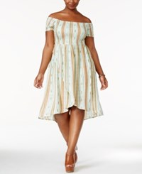 American Rag Trendy Plus Size Off The Shoulder A Line Dress Only At Macy's Misty Jade Combo