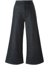 Victoria Beckham Cropped Super Wide Trousers Blue