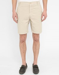 M.Studio Beige Paul Fitted Cotton Shorts