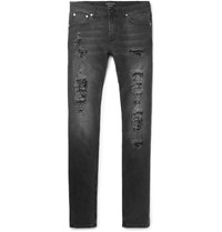 Alexander Mcqueen Slim Fit Distressed Washed Stretch Denim Jeans Black