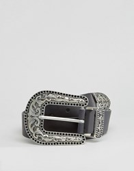 Asos Wide Leather Western Belt Black