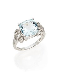 Effy Diamond Aquamarine And 14K White Gold Ring