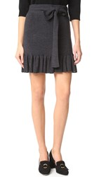 Club Monaco Estie Ruffle Hem Sweater Skirt Charcoal