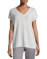 Vince Rolled Edge Cashmere V Neck Tee Women's New Buff