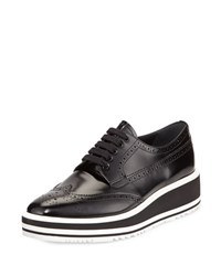 Prada Polished Leather Platform Oxford Black Nero