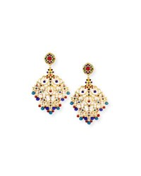 Jose And Maria Barrera Beaded Filigree Chandelier Clip On Earrings Multi