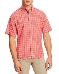 Tailorbyrd Seersucker Windowpane Check Classic Fit Button Down Shirt Coral