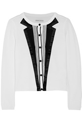 Alice Olivia Appliqued Knitted Wool Cardigan