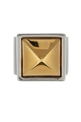 Rebecca Minkoff Two Tone Pyramid Stud Ring Size 7 Metallic