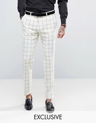 Heart And Dagger Skinny Trousers In Wool Check White