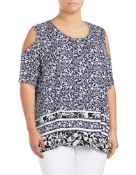 Lord And Taylor Plus Paisley Cold Shoulder Top Evening Blue