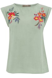 Oasis Embroidered Roll Sleeve Tee Khaki
