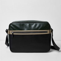 River Island Mens Black Textured Crossbody Satchel Bag
